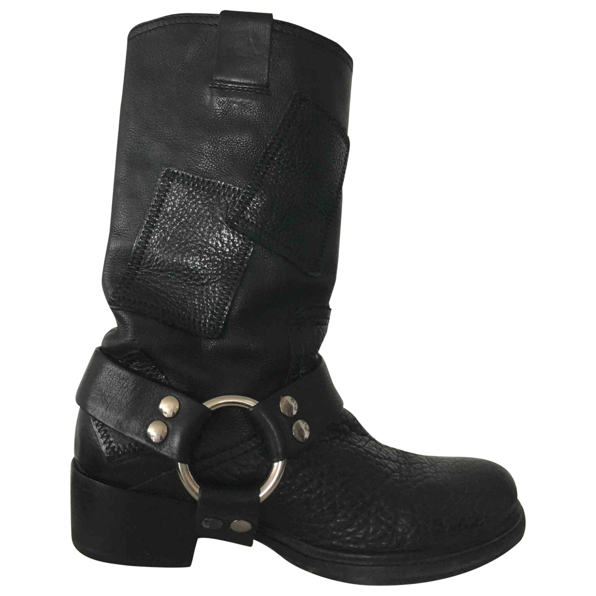 Miu Miu N Black Leather Ankle boots for Women 37.5 EU