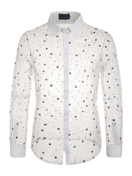 Milanoo Camisa transparente Hombre Malla cuello vuelto Camisas casuales