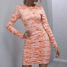 Tie Dye Ruched Dress