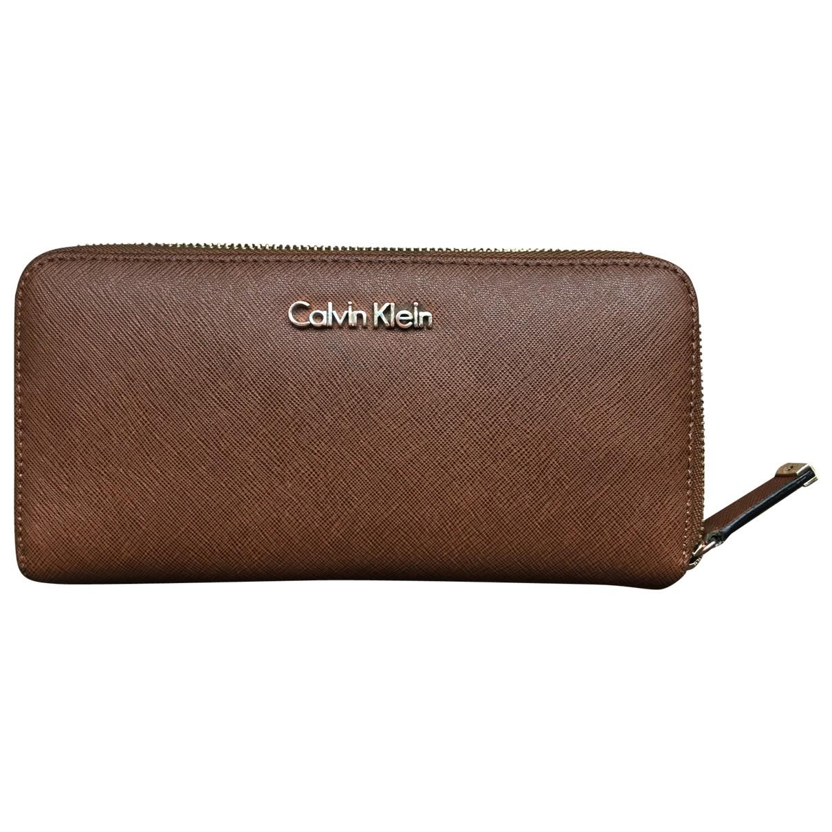 Calvin Klein - Petite maroquinerie   pour femme en cuir - marron