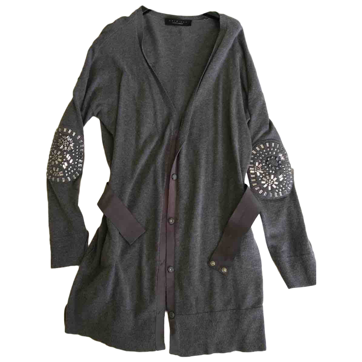 Twin Set N Grey Wool Knitwear for Women 42 IT