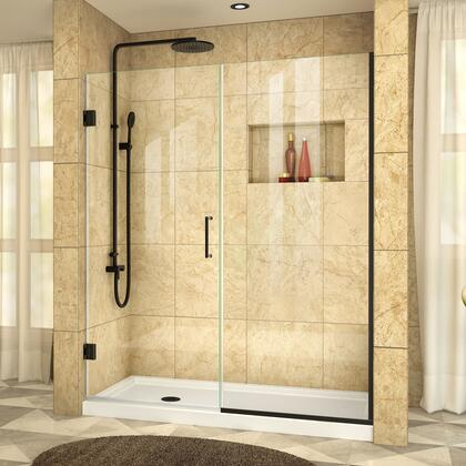 SHDR-245407210-09 Unidoor Plus 54-54 1/2 W X 72 H Frameless Hinged Shower Door  Clear Glass  In Satin