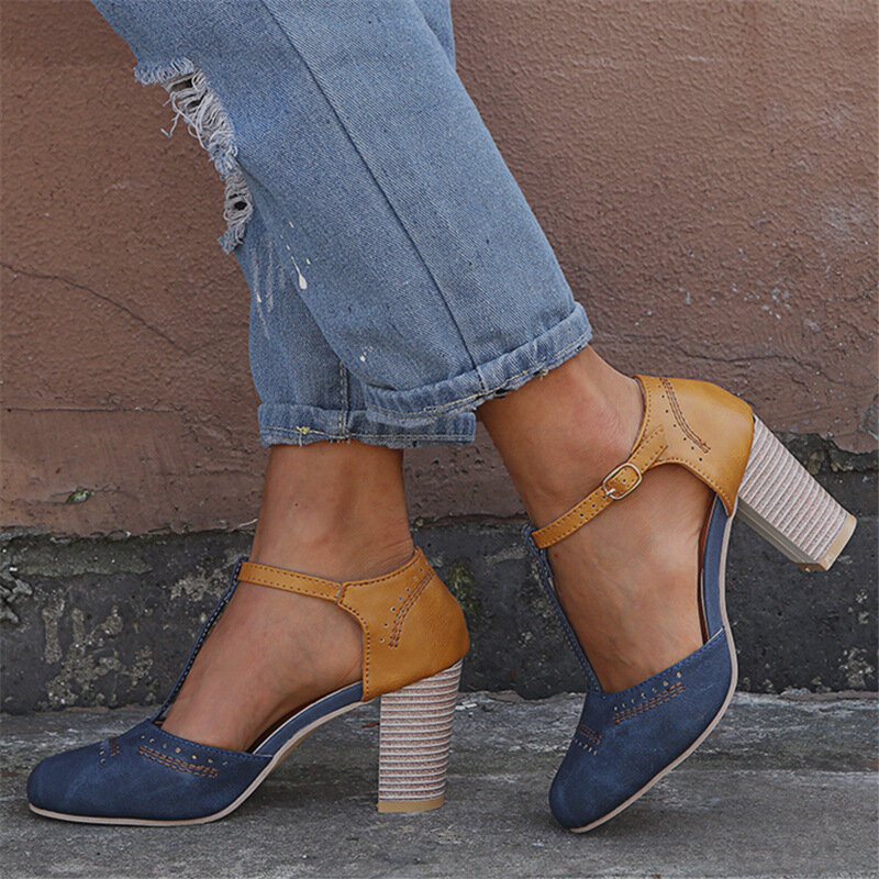 Large Size Women Retro Splicing Closed Toe T Strap Buckle Chunky Heel Pumps