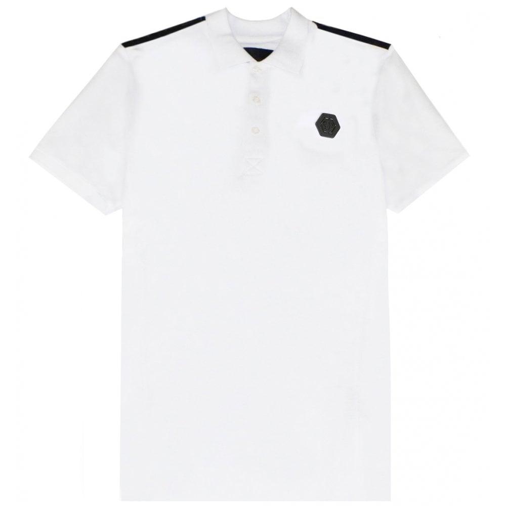 Philipp Plein Logo Polo Colour: WHITE, Size: EXTRA EXTRA LARGE