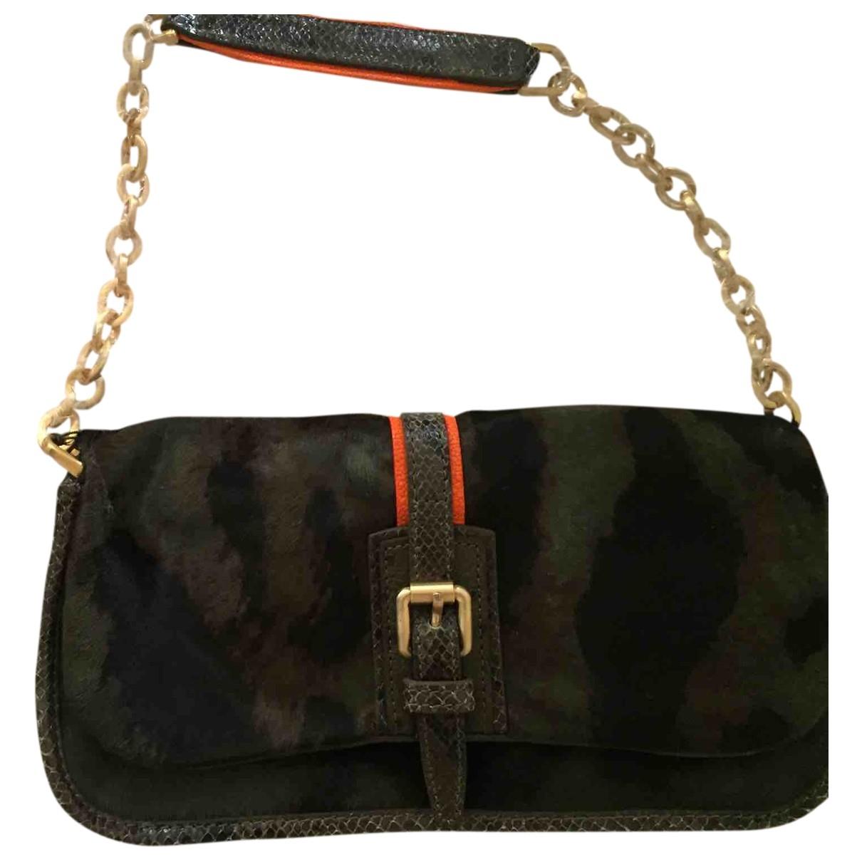 Longchamp \N Khaki Pony-style calfskin handbag for Women \N