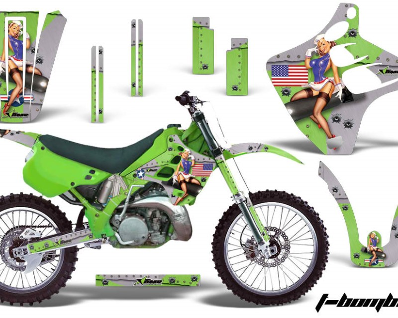 AMR Racing Dirt Bike Graphics Kit Decal Wrap For Kawasaki KX125 | KX250 1990-1991áTBOMBER GREEN