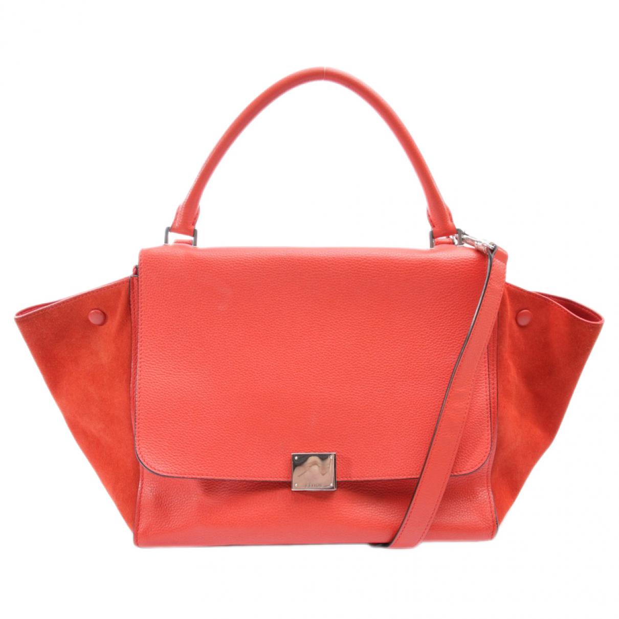 Celine Trapeze Handtasche in  Rot Leder