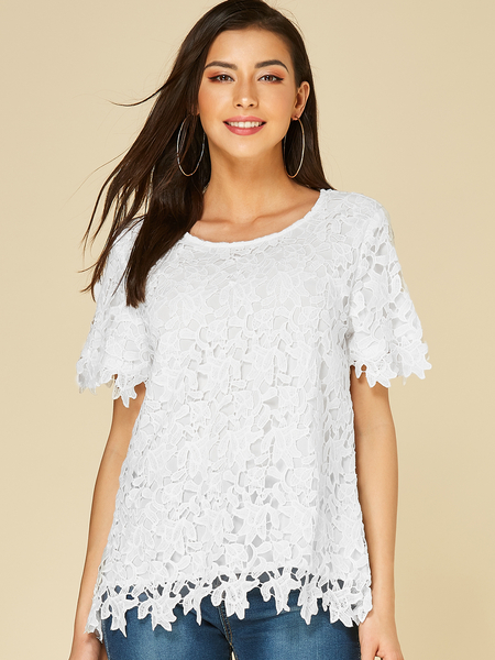YOINS White Crochet Lace Embellished Short Sleeves Blouse