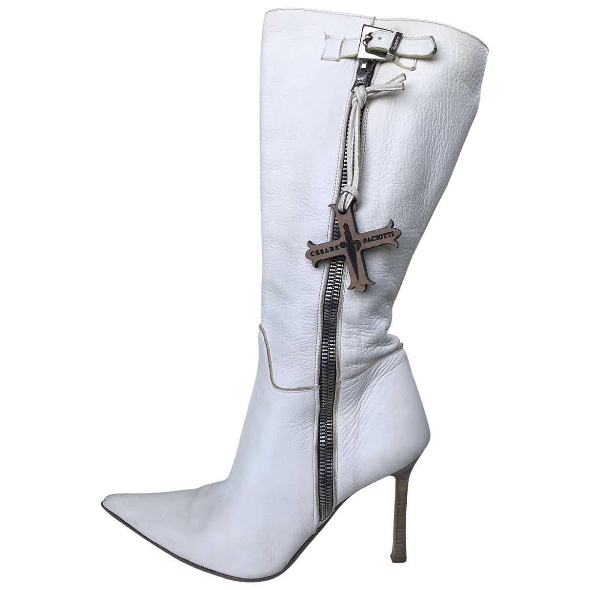Cesare Paciotti - Bottes   pour femme en cuir - blanc