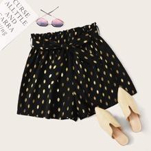 Grosse Grossen - Shorts mit Papiertasche Taille, Guertel und Gold Muster