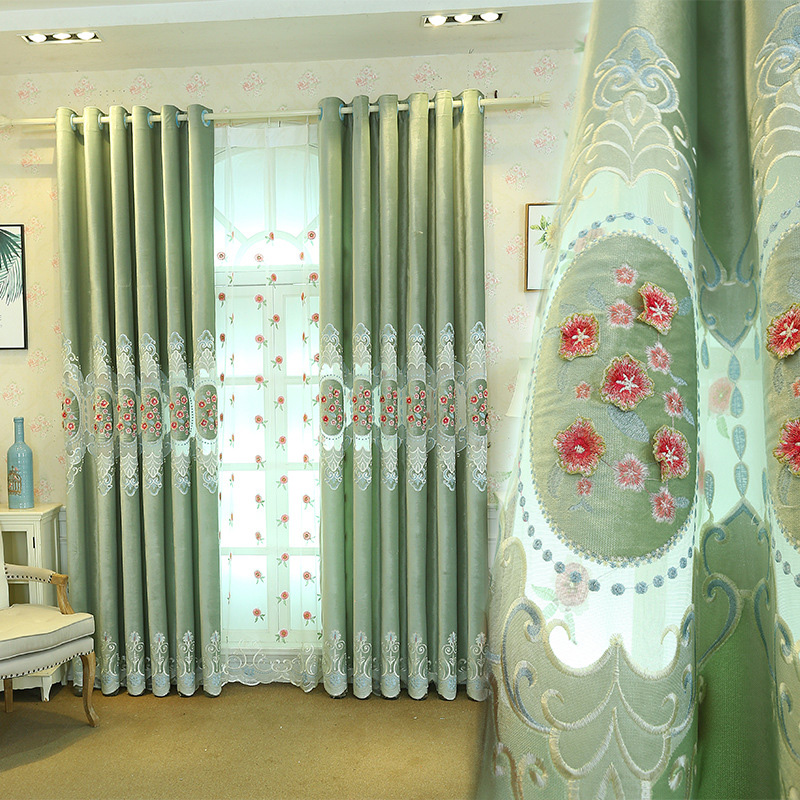 Pastoral Floral Embroidered Blackout Window Curtains for Living Room Custom 2 Panels Drapes No Pilling No Fading No off-lining