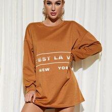 Drop Shoulder Letter Graphic Sweatshirt Dress