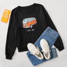 Bus & Letter Graphic Sweatshirt