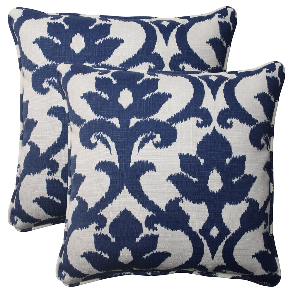 Pillow Perfect Navy Outdoor Corded 18.5-Inch Throw Pillows (Set of 2) (Navy)