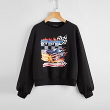 Drop Shoulder Slogan Graphic Print Pullover