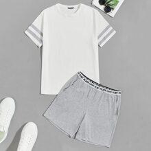 Conjunto de pijama camiseta de manga de rayas con shorts de cintura con letra