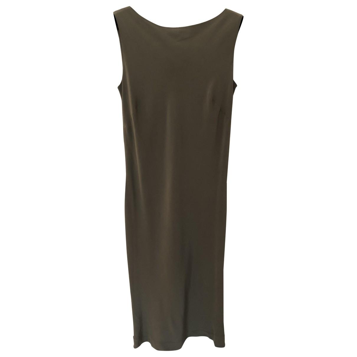 Alberta Ferretti \N Kleid in  Khaki Seide