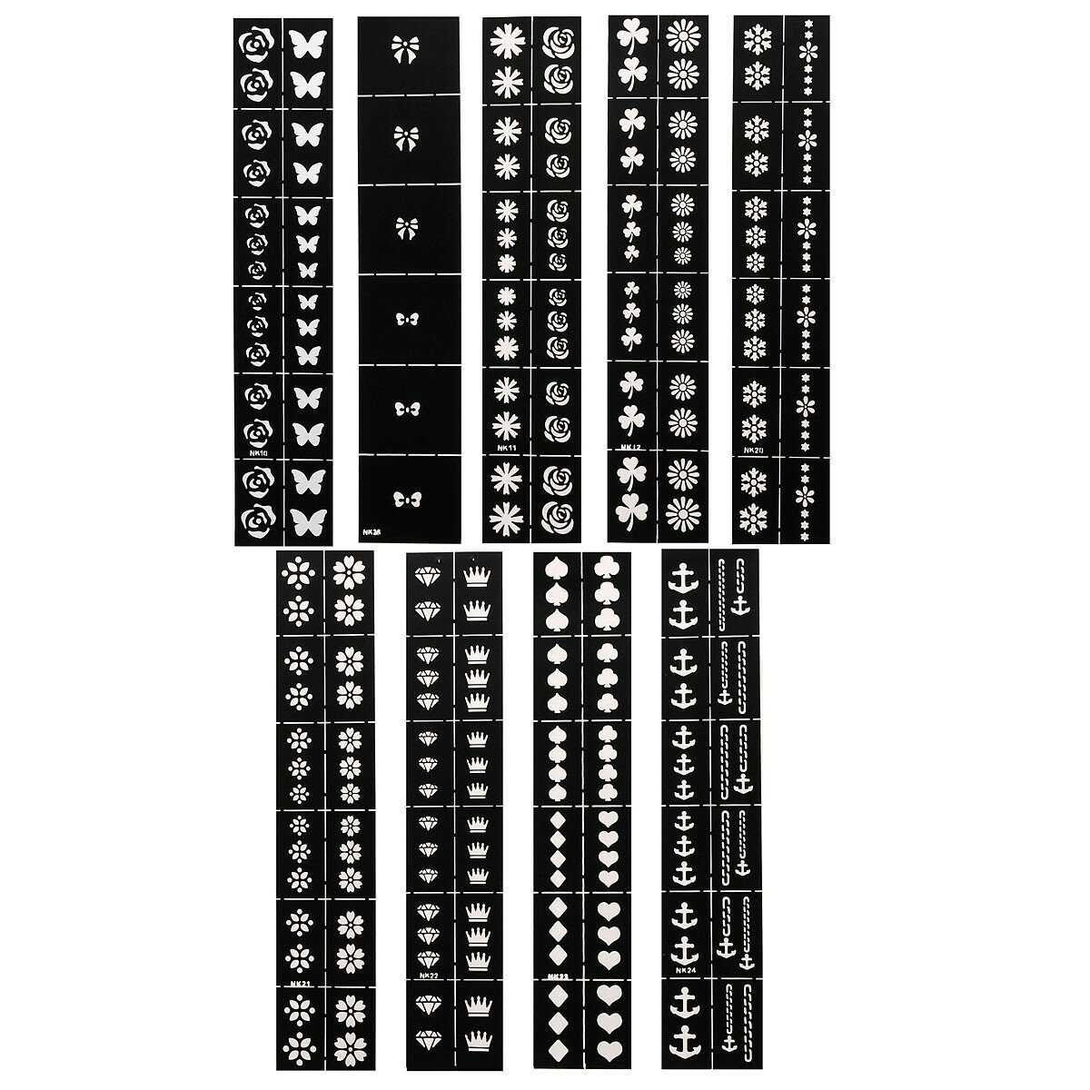 9 Styles Hollow Nail Art Designs Stickers Decoration Stamping Patterns Manicure Tool