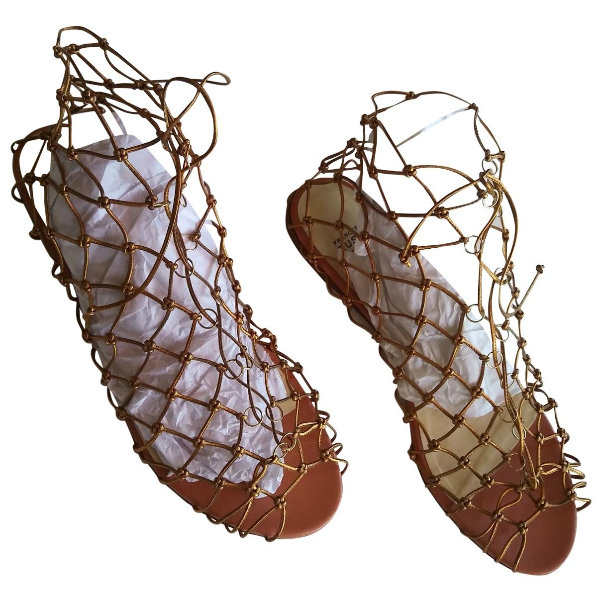 Francesco Russo \N Gold Leather Sandals for Women 40 EU