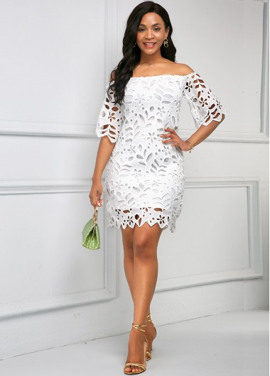 Cocktail Party Dress Pierced Off the Shoulder Half Sleeve Dress - S