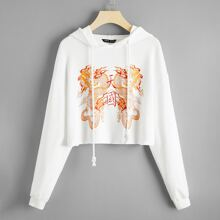 Drop Shoulder Chinese Dragon & Letter Graphic Crop Hoodie