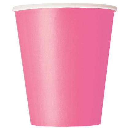 Party Paper Cup Solid Color 9oz Hot Pink 8Pcs