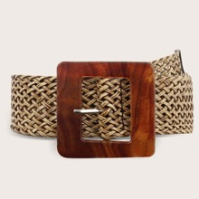 Square Buckle Woven Belt
