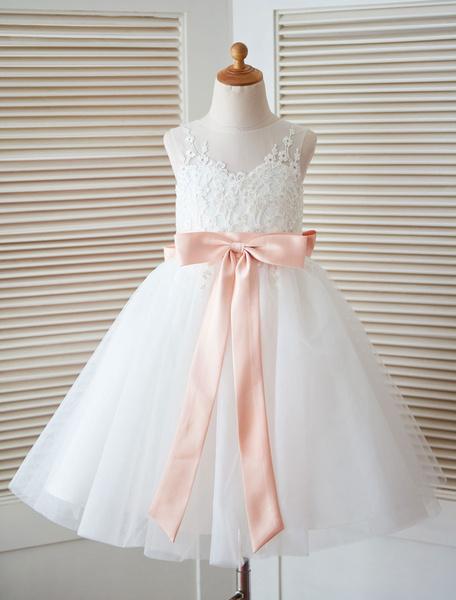 Milanoo White Flower Girl Dress Princess Satin Bow Lace Sleeveless Tulle Tea-Length Pageant Dress