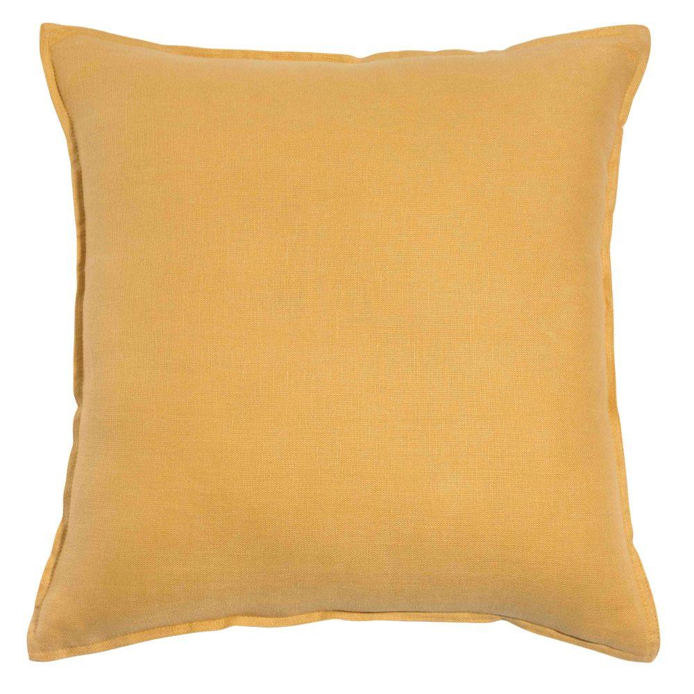 Kissen aus grobem Leinen, gelb, 45x45