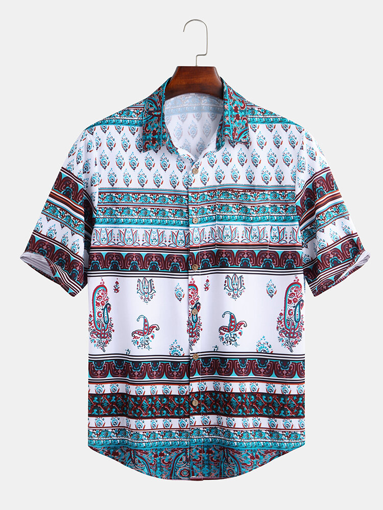 Mens Vintage Ethnic Style Printing Short Sleeve Loose Casual Designer Shirts