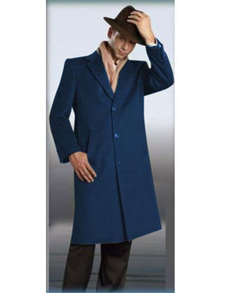 Mens Authentic NavyBlue Alberto Nardoni Brand Full Length Coat Topcoat