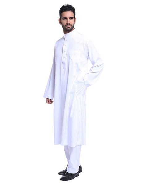 Milanoo Arabian Men Clothing Stand Collar Long Sleeve Button 2 Piece Muslim Outfit Set