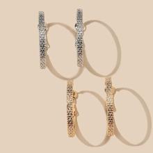 2pairs Textured Metal Hoop Earrings