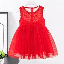 Toddler Girls Mesh Panel Bow Back A-line Dress