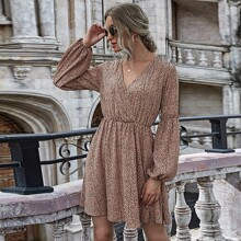 All Over Print Surplice Front Dress