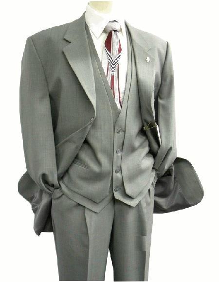 OS Falcone Men's Gray Three Button Vest Fabric Suit Notch Lapel