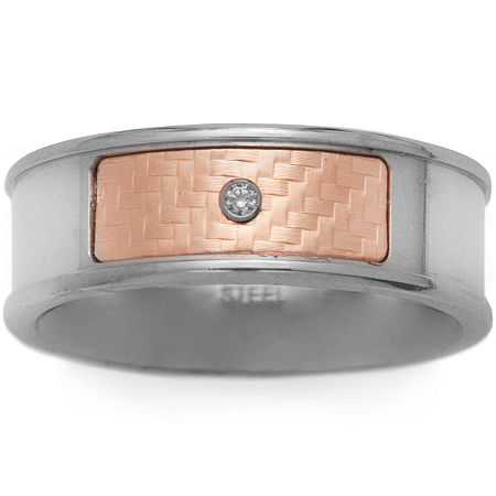 Mens 18K Yellow Gold & Stainless Steel Diamond-Accent Band, 12 , Multiple Colors