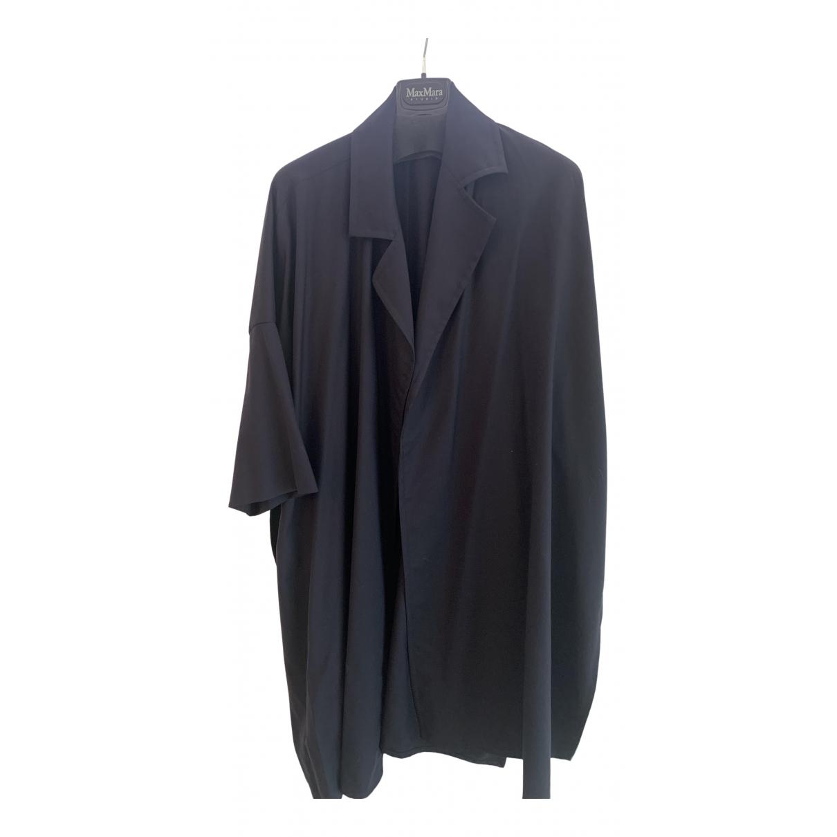 Max Mara N Blue Wool Trench coat for Women 36 IT