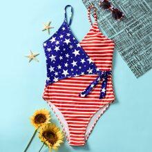 Einteiliger Badeanzug mit amerikanischer Flagge Muster und Taillenband