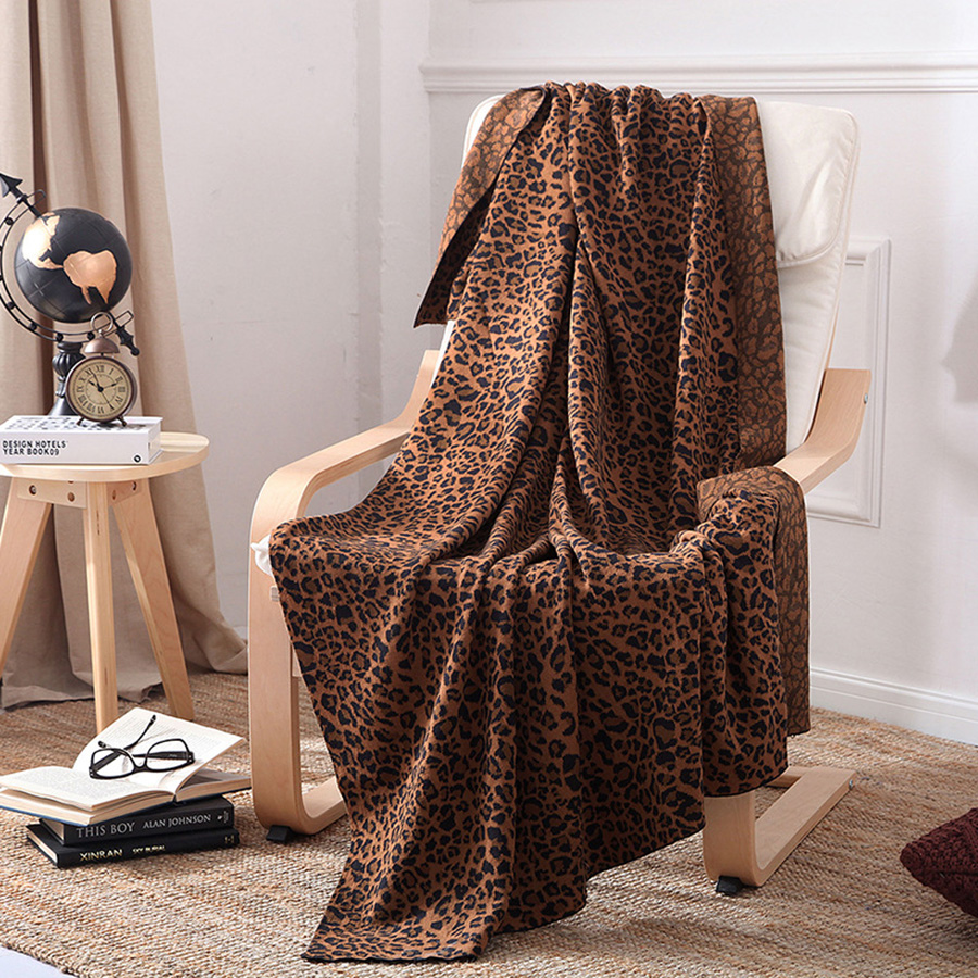 Leopard Pattern Cotton Material Fall Spring Season Towel Blanket