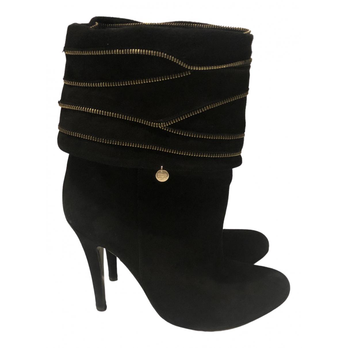 Elisabetta Franchi - Boots   pour femme en suede - noir
