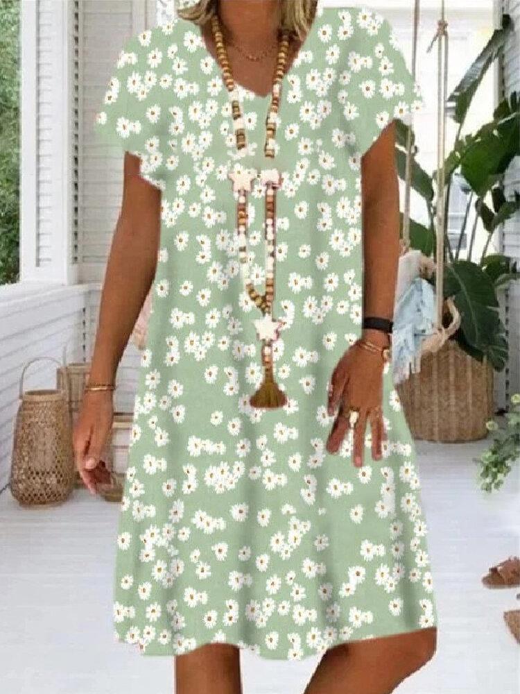 Daisy Floral Print Short Sleeve Loose V-neck Dress For Women