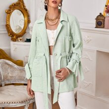 Drawstring Waist Plaid Tweed Blazer