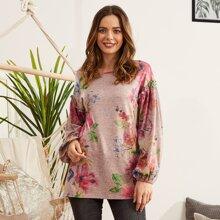 LUUKSE T-Shirt mit Rueschenbesatz und Blumen Muster
