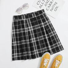 Tartan Zipper Side A-line Skirt