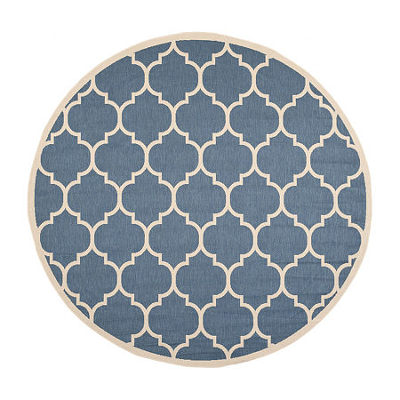 Safavieh Courtyard Collection Amias Geometric Indoor/Outdoor Round Area Rug, One Size , Multiple Colors