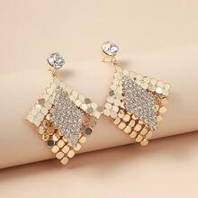 Pendientes largos geometricos con diamante de imitacion
