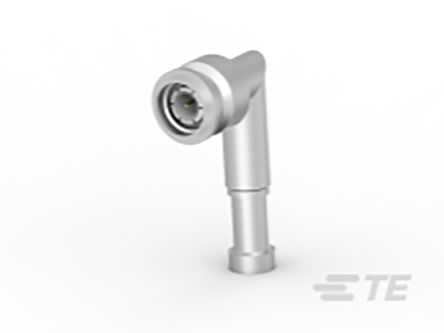 TE Connectivity Right Angle 50Ω Panel Mount Coaxial Connector, Plug, Silver, Crimp Termination