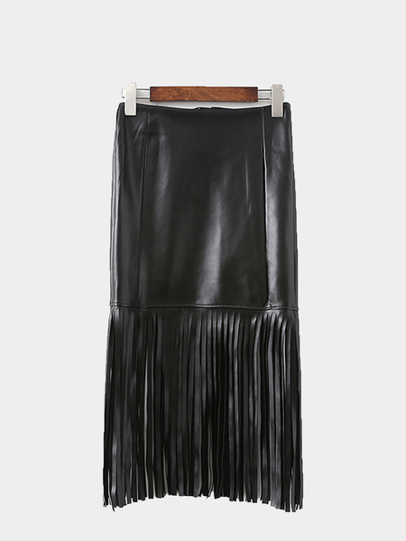 Yoins Leather-look Fringed Skirt