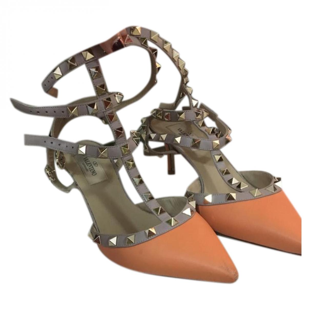 Valentino Garavani - Sandales   pour femme en cuir - orange
